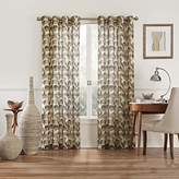 Eclipse Curtains Eclipse 15457052095CHC Amadora Ikat 52-Inch by 95-Inch Light Filtering Single Sheer Curtain Panel, Chocolate