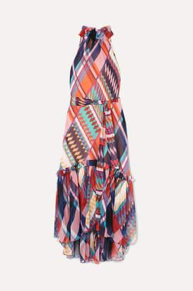 Diane von Furstenberg Teresa Printed Ruffled Silk-chiffon Halterneck Dress - Purple