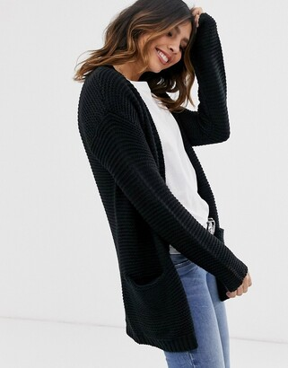 Vero Moda chunky ribbed cardigan with pocket detail in black