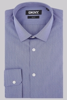 DKNY Slim Fit Navy Single Cuff Dobby Stripe Shirt