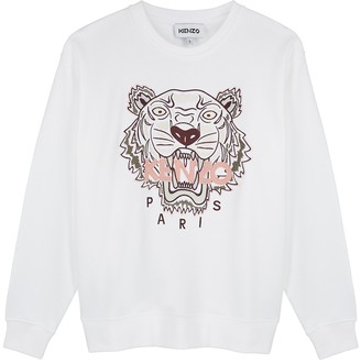 Kenzo White tiger-embroidered cotton sweatshirt
