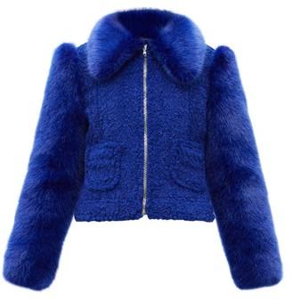 Shrimps Otis Faux-fur Jacket - Blue