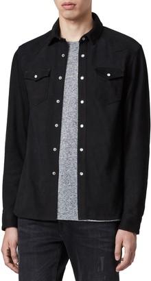 AllSaints Stanway Slim Fit Leather Shirt Jacket