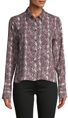 Equipment Snakeskin-Print Long-Sleeve Shirt