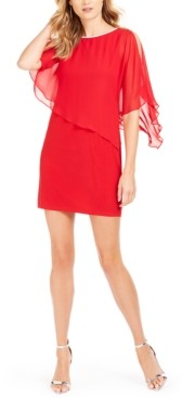 MSK Petite Overlay Rhinestone X-Back Dress