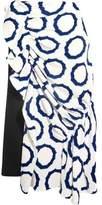 J.W.Anderson Asymmetric Printed Cady And Crepe Midi Skirt