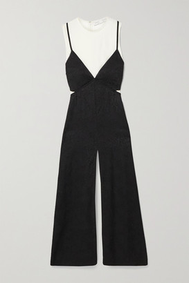 Proenza Schouler White Label Layered Satin-jacquard And Crepe Midi Dress - Black