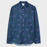 Paul Smith Men's Slim-Fit Navy 'Tiger' Print Lightweight-Cotton Shirt