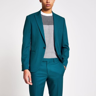 River Island Mens Green skinny fit stretch blazer