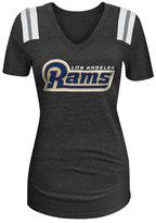 5th & Ocean Women's Los Angeles Rams Glitter Shoulder T-Shirt