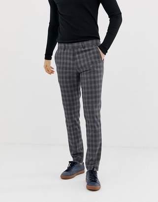 Selected slim fit smart check trouser-Grey