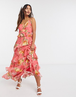 Forever New button ruffle maxi dress in vivid melon floral