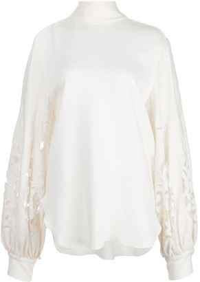 Oscar de la Renta Cut Out-Detail Tie-Neck Blouse