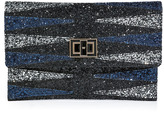 Anya Hindmarch Glitter Fabric Valorie Backgammon Clutch in Black/Navy
