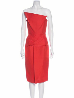 Roland Mouret Strapless Knee-Length Dress Orange