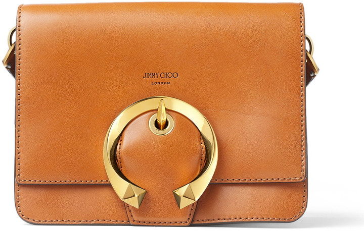 Jimmy Choo MADELINE SHOULDER BAG Cuoio Calf Leather Shoulder Bag with Metal Buckle