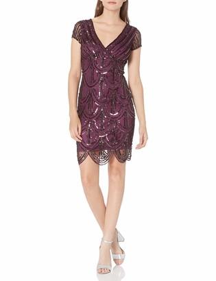 Marina Women's Short Sleeve V Neck Striped Sequin Dress