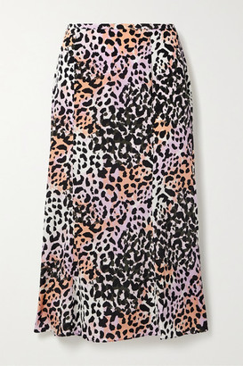 Veronica Beard Diane Leopard-print Stretch-silk Midi Skirt - Lilac