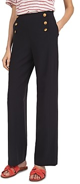 Gerard Darel Button-Front High-Waist Wide-Leg Pants