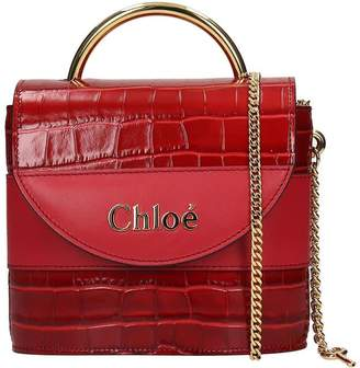 Chloé Aby Lock Hand Bag In Red Leather