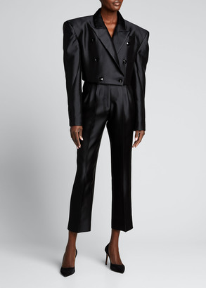 Christopher John Rogers Double-Breasted Cropped Blazer Jacket