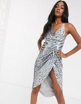 Asos Design DESIGN midi dress with drape bodice in allover zebra sequin