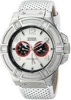 GUESS GUESS? Men's U0451G1 Rigor Sporty Multi-Function Genuine Leather Watch with Navy Blue & Red Accents