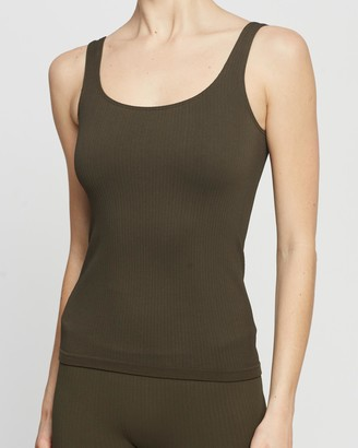 Aim'n - Women's Green Muscle Tops - Ribbed Seamless Singlet - Size XL at The Iconic