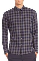 Theory Large-Scale Plaid Cotton Sportshirt