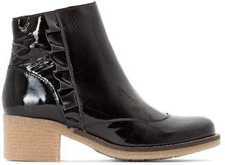 La Redoute Collections Patent Leather Ankle Boots with Crepe Sole