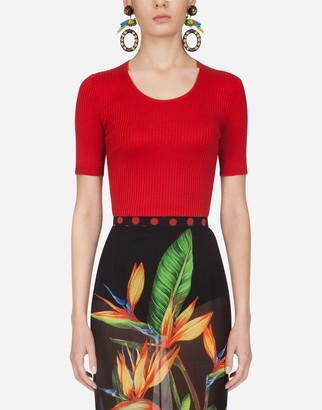 Dolce & Gabbana Short-Sleeved Ribbed Sweater In Silk