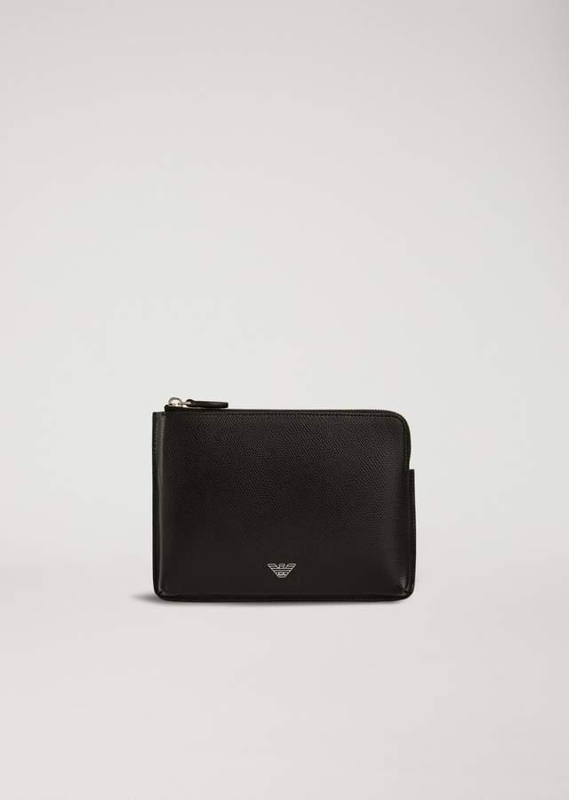 Emporio Armani Organizer In Boarded Print Leather