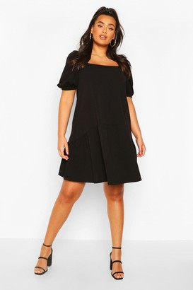 boohoo Plus Puff Sleeve Smock Dress