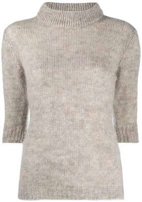 Lardini Fluffy Knit Jumper With Short Sleeves