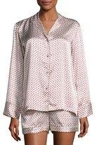 Natori Silk Fan-Print Short Pajama Set, Pearl/Red