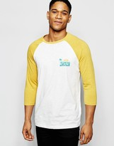 Asos Slub 3/4 Sleeve T-shirt With Chest And Contrast Raglan