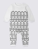 Marks and Spencer Pure Cotton Knitted Christmas Fairisle All in One