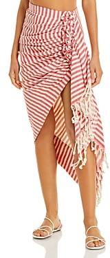 Just BEE Queen Tulum Striped Fringed Skirt