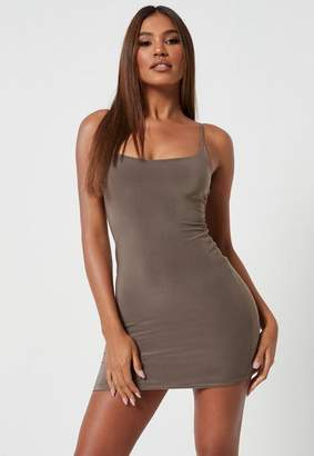 Missguided Brown Slinky Seam Free Strappy Cami Mini Dress