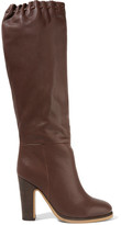 See by Chloe Scalloped Textured-leather Knee Boots - Chocolate