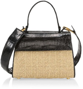 Nancy Gonzalez Small Lexi Raffia & Crocodile Top Handle Bag