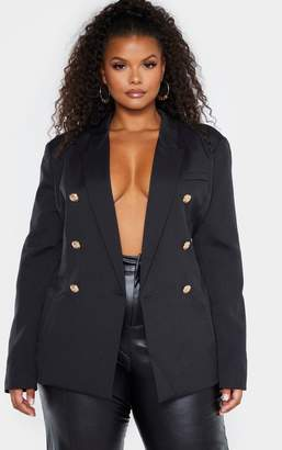 PrettyLittleThing Plus Black Double Breasted Military Style Woven Blazer
