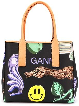 Ganni Graphic-Print Tote Bag