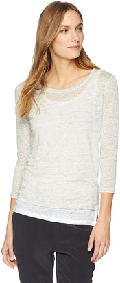 Majestic Filatures Women's Linen Double-Layer 3/4 Sleeve Boat Neck