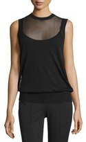 Michael Kors Jewel-Neck Layered Shell, Black