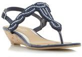 Head Over Heels Beaded Toe Post Mini Wedge Sandal