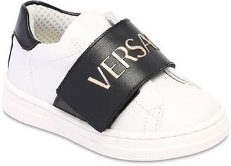Versace Logo Print Leather Sneakers