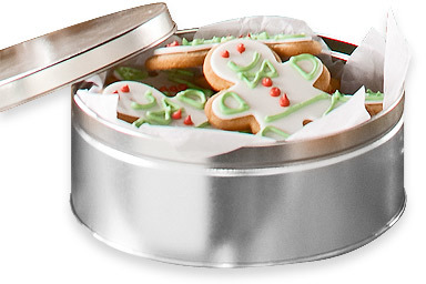 Container Store 5 lb. Round Tin Silver