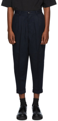 Ami Alexandre Mattiussi Navy Wool Carrot-Fit Chino Trousers