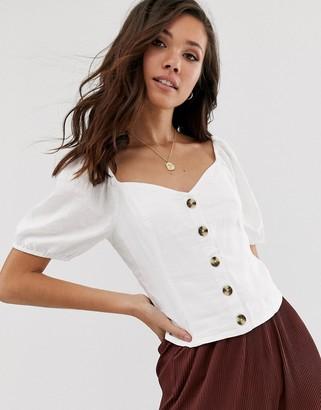 Abercrombie & Fitch button through linen shirt-White